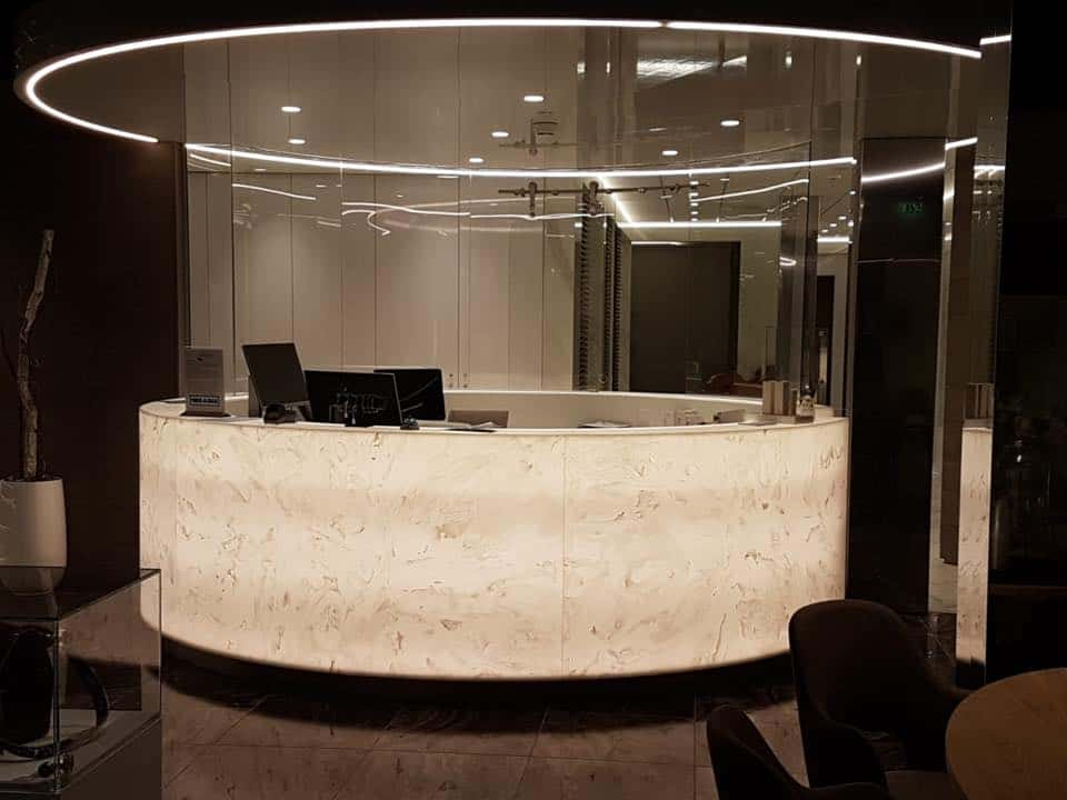 Curved Reception Backlit With Astrolux