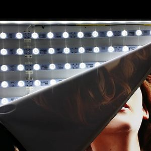 Astrolux LED backlighting solution inside a fabric lightbox