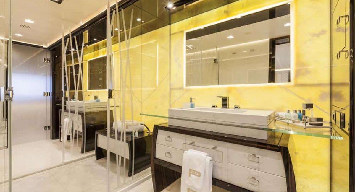 Bathroom interior illuminated with LED Lighting